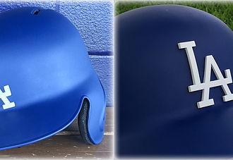 Blue baseball helmets